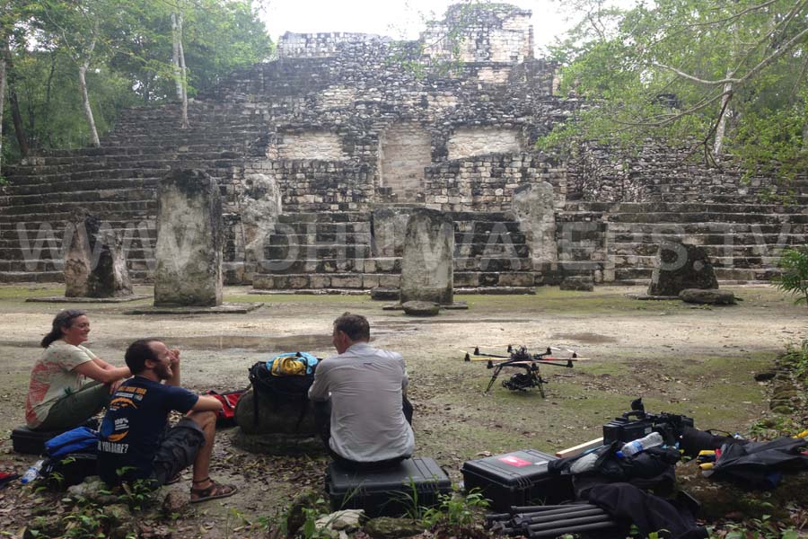 Filming at ancient Maya site of Calakmul, Mexico