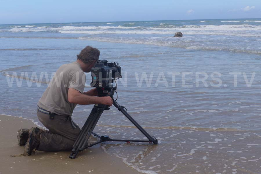 Filming green turtles mating in surf, Rancho Nuevo, Mexico